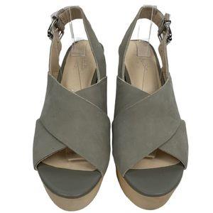 Seychelles Wood Heeled Platform Sandal in Grey